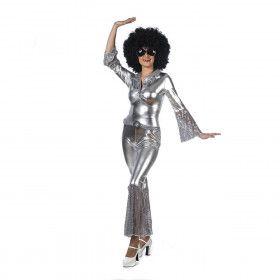 Strak Glimmend Zilveren Disco Boogie Vrouw Kostuum