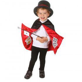 Cape Goochelaar Met Speelkaarten Voering Kind Kostuum