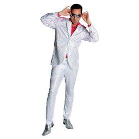 Witte Wandelende Discobol Pailletten Man Kostuum