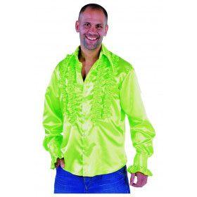 Getailleerde Ruches Blouse Stiekem Dansen Neon Groen Man