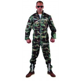 Onversaagde Jet Piloot Camouflage Man Kostuum
