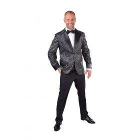 Glitter Colbert Casino Royal Zwart Man