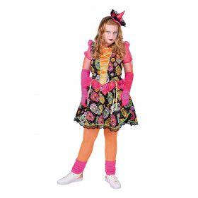 Dia De Los Muertos Met Grijnzende Schedels Meisje Kostuum