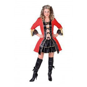 Officier Koninklijke Garde Rood Brokaat Vrouw Kostuum