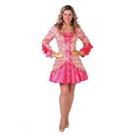 Burlesque Brokaat Jas Met Ruches Roze Vrouw