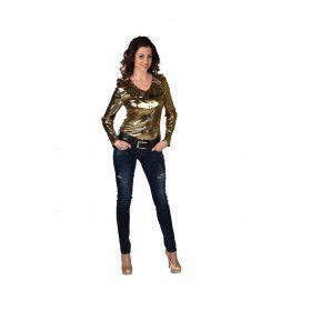 Gouden Glitter Folie Blouse Vrouw