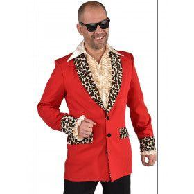 Rood Foute Pooier Rosse Buurt Colbert Met Luipaard Details Man