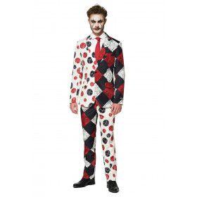 Halloween Bloedvaten Enge Harlekijn Man Kostuum