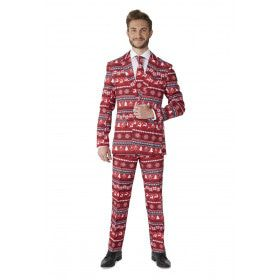 Nordic Pixel Red Suitmeister Man Kostuum