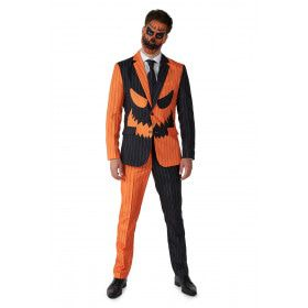 Jack-O Pinstripe Black Oranje Zwart Man Kostuum