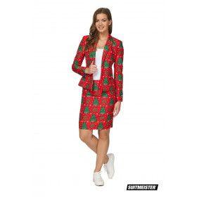 Klassieke Kleuren Kerstboom Vrouw Kostuum
