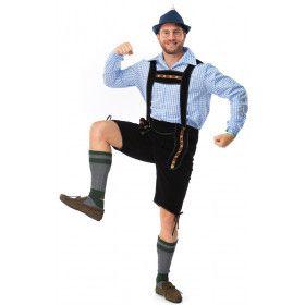 Zwarte Korte Bierfeest Lederhose Met Shirt Oktoberfest Bier Munchen Man Kostuum