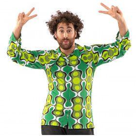 Jaren 70 Hippie Soul Disco 60s Ga Voor Groen Shirt Man
