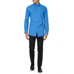 Strak Blauwe Luchten Overhemd Lange Mouwen Man