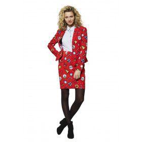 Kenmerkend Rood Kerst Motieven Vrouw Kostuum