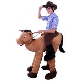 Gek En Grappig Man Op Paard Kostuum