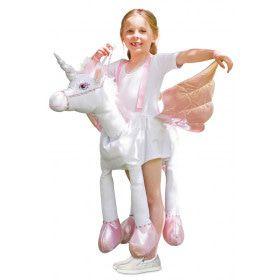 Op De Rug Van Een Zwevende Eenhoorn Meisje Kostuum