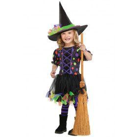 Onschuldige Gekleurde Stippen Heks Meisje Kostuum