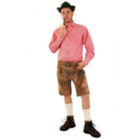 Tiroler Trachten Hemd Rood Wit Geblokt Man