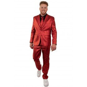 Metallic Glamour Rood 3delig Man Kostuum