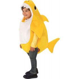 Gele Baby Shark Kind Met Geluid Kind Kostuum