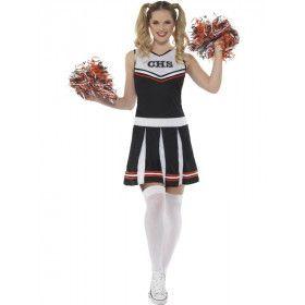 Zwart Go Highschool Cheerleader Vrouw Kostuum