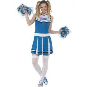 Blauw Go Highschool Cheerleader Vrouw Kostuum