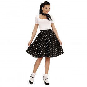 Black Lady 50s Rock And Roll Rok Met Nekband, Zwarte Stippen Vrouw Kostuum