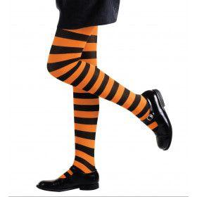 Gestreepte Kinderpanty Oranje / Zwart