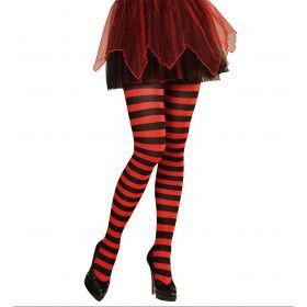 Horizonaal Panty Gestreept Rood / Zwart