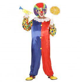 Clown Zwart Rood Traditioneel Man Kostuum