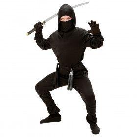 Zwart Samoerai Running Ninja Kostuum Jongen