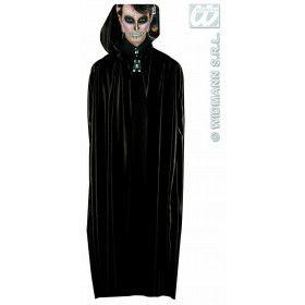 Lange Zwarte Cape Met Kap, 142 Centimeter Man Kostuum