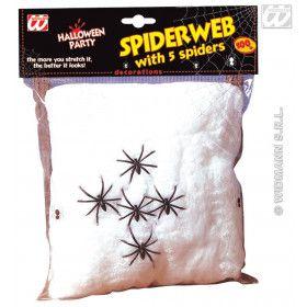 Spinnenweb 100 Gram Met 5 Spinnen