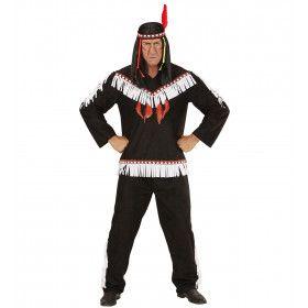 Winnetou De Krijger Indiaan Zwart Man Kostuum