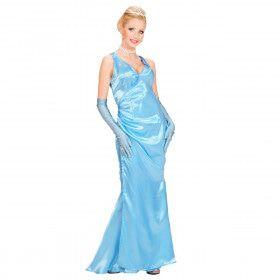 Beroemdheid Satijn Blauw Gala Lady Kostuum Vrouw