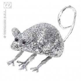 Glitter Muis Zilver 8,5 Centimeter