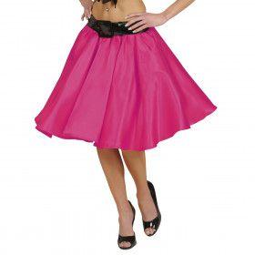 Satijnen Rokje Met Petticoat, Roze Vrouw