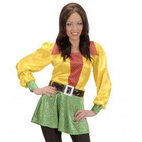 Shirt Pailletten Satijn 3-Kleuren Vrouw Kostuum