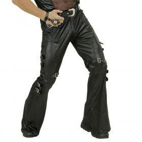 Zwarte Lederlook Broek Met Sluitingen Man