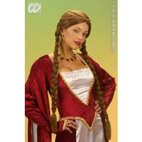 Pruik Middeleeuwse Koningin Bruin
