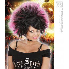 Pruik, Rock Prinses Zwart / Roze