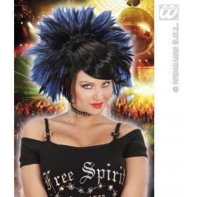 Pruik, Rock Prinses Zwart / Blauw