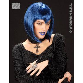 Pruik, Gothic Vamp Blauw