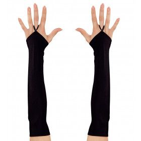 Tachtiger Jaren Vingerloze Handschoenen Satijn, Zwart