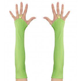 Tachtiger Jaren Vingerloze Handschoenen Satijn, Neon Groen
