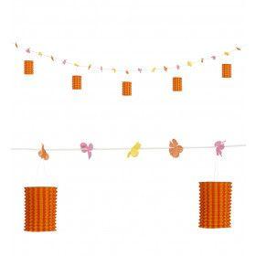 Feestelijke Slinger Met Lampions En Bloemen Oranje / Geel, 3 Meter