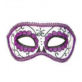 Mexicaans Oogmasker Dia De Los Muertos Zwart & Paars