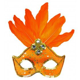 Samba Oogmasker Brazilie Met Veren En Parels, Neon Oranje