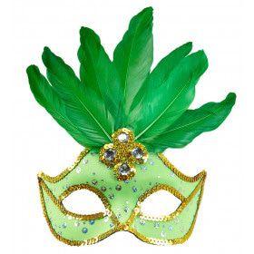 Samba Oogmasker Brazilie Met Veren En Parels, Neon Groen